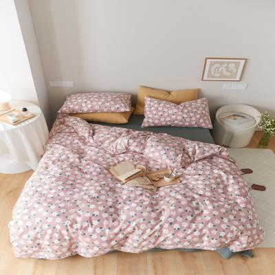 2021新款印花槿色套件 1.5m床单款四件套 恬梦花开-粉