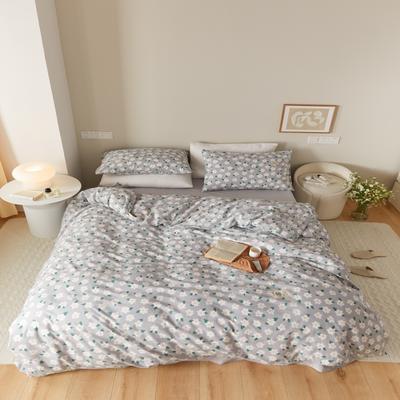 2021新款印花槿色套件 1.5m床单款四件套 恬梦花开-灰