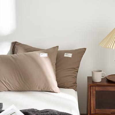 2021新款无印单品系列--单枕套 48*74cm  枕套一对 素雅-卡其