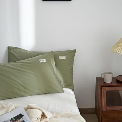 2021新款无印单品系列--单枕套 48*74cm  枕套一对 素雅-抹茶绿