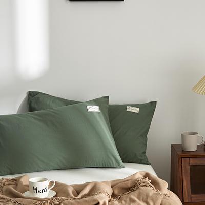 2021新款无印单品系列--单枕套 48*74cm  枕套一对 素雅-灰绿