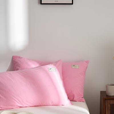 2021新款无印单品系列--单枕套 48*74cm  枕套一对 素雅-粉玉