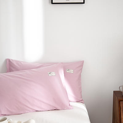 2021新款无印单品系列--单枕套 48*74cm  枕套一对 素雅-粉白