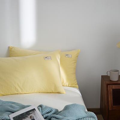 2021新款无印单品系列--单枕套 48*74cm  枕套一对 素雅-米黄