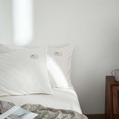2021新款无印单品系列--单枕套 48*74cm  枕套一对 素雅-白