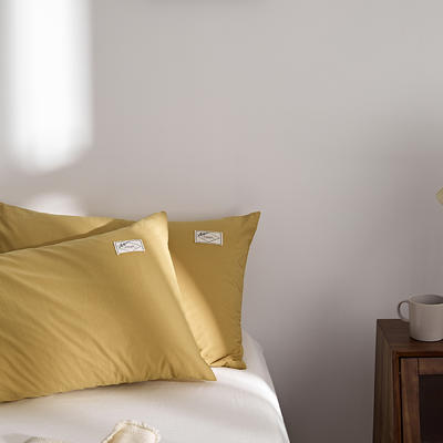 2021新款无印单品系列--单枕套 48*74cm  枕套一对 素雅-黄驼