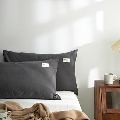 2021新款无印单品系列--单枕套 48*74cm  枕套一对 素雅-深灰