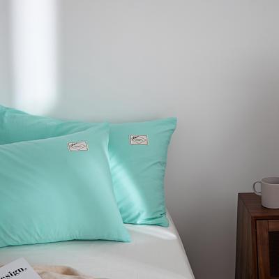 2021新款无印单品系列--单枕套 48*74cm  枕套一对 素雅-水绿