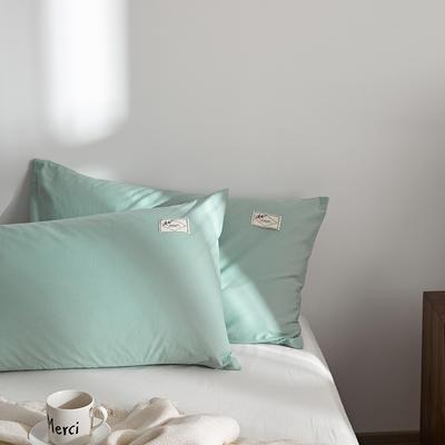2021新款无印单品系列--单枕套 48*74cm  枕套一对 素雅-浅绿