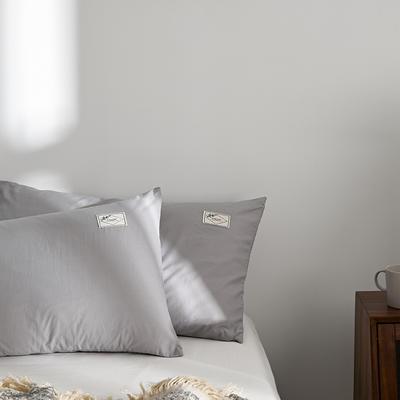 2021新款无印单品系列--单枕套 48*74cm  枕套一对 素雅-迷雾灰