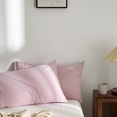 2021新款无印单品系列--单枕套 48*74cm  枕套一对 素雅-粉紫