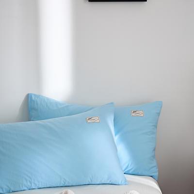 2021新款无印单品系列--单枕套 48*74cm  枕套一对 素雅-湖兰