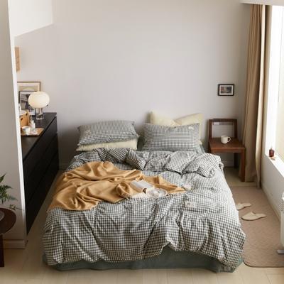 2021新款色织水洗32s全棉四件套—青岚系列 1.5m床单款四件套 浅绿小格