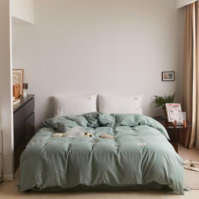 2021新款色织水洗32s全棉被套—青岚系列 160x210cm 纯绿色