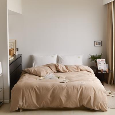 2021新款色织水洗32s全棉被套—青岚系列 160x210cm 纯米色