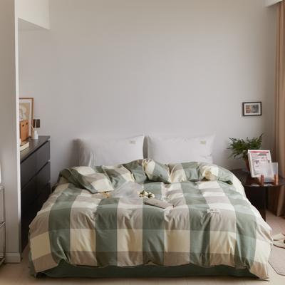 2021新款色织水洗32s全棉被套—青岚系列 160x210cm 绿大格