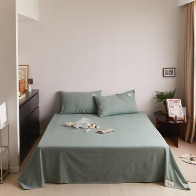 2021新款色织水洗32s全棉床单—青岚系列 160cmx245cm 纯绿色