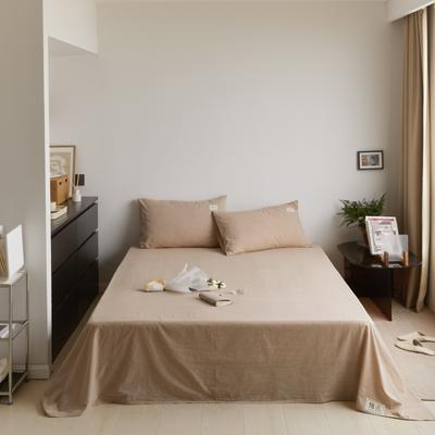 2021新款色织水洗32s全棉床单—青岚系列 160cmx245cm 纯米色