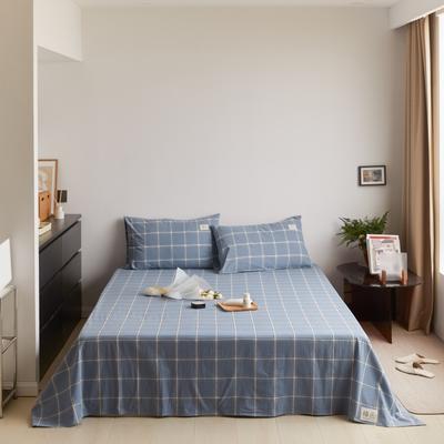 2021新款色织水洗32s全棉床单—青岚系列 160cmx245cm 海蓝大格