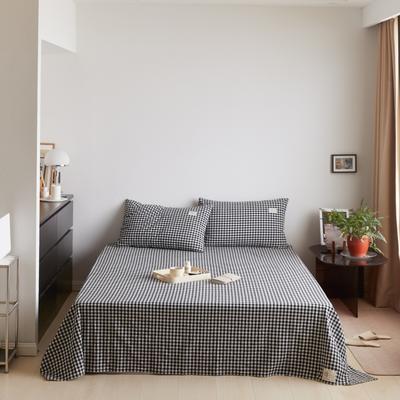 2021新款色织水洗32s全棉床单—青岚系列 160cmx245cm 黑白小格