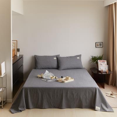 2021新款色织水洗32s全棉床单—青岚系列 160cmx245cm 黑条纹