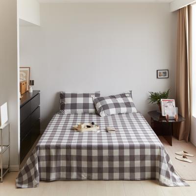 2021新款色织水洗32s全棉床单—青岚系列 160cmx245cm 灰中格