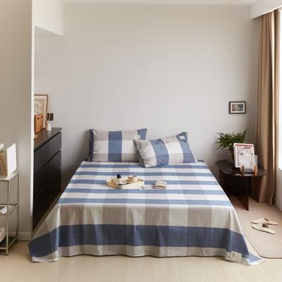 2021新款色织水洗32s全棉床单—青岚系列 160cmx245cm 蓝大格