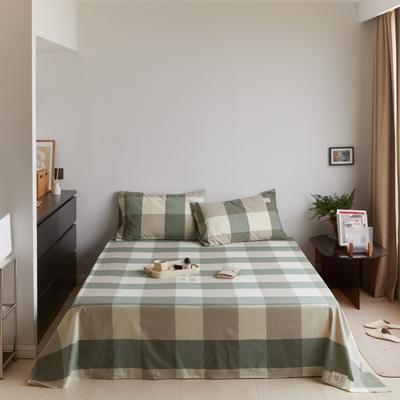 2021新款色织水洗32s全棉床单—青岚系列 160cmx245cm 绿大格
