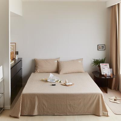 2021新款色织水洗32s全棉床单—青岚系列 160cmx245cm 米小格