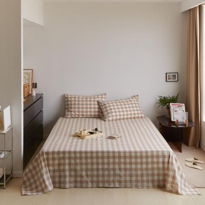 2021新款色织水洗32s全棉床单—青岚系列 160cmx245cm 米中格