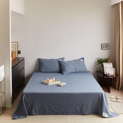 2021新款色织水洗32s全棉床单—青岚系列 160cmx245cm 牛仔蓝