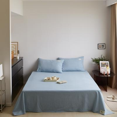2021新款色织水洗32s全棉床单—青岚系列 160cmx245cm 浅蓝色