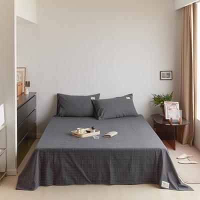 2021新款色织水洗32s全棉床单—青岚系列 160cmx245cm 小灰格