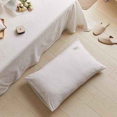 2021新款色织水洗32s全棉枕套—青岚系列 48*74一对 纯白