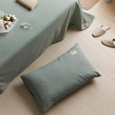 2021新款色织水洗32s全棉枕套—青岚系列 48*74一对 纯绿色