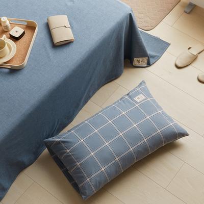 2021新款色织水洗32s全棉枕套—青岚系列 48*74一对 海蓝大格