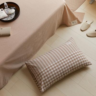 2021新款色织水洗32s全棉枕套—青岚系列 48*74一对 渐变米格