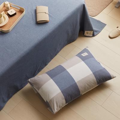 2021新款色织水洗32s全棉枕套—青岚系列 48*74一对 蓝大格