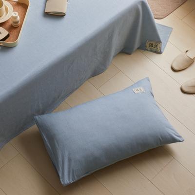 2021新款色织水洗32s全棉枕套—青岚系列 48*74一对 浅蓝色