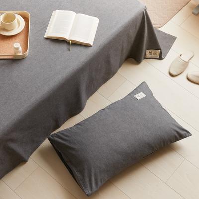 2021新款色织水洗32s全棉枕套—青岚系列 48*74一对 深灰