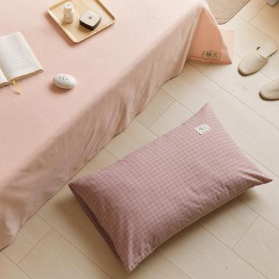 2021新款色织水洗32s全棉枕套—青岚系列 48*74一对 小粉格