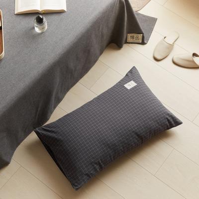 2021新款色织水洗32s全棉枕套—青岚系列 48*74一对 小灰格