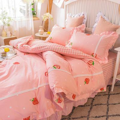 2020韩版全棉四件套韩式纯棉公主风  提取码:gn84 1.2m床单款三件套 草莓