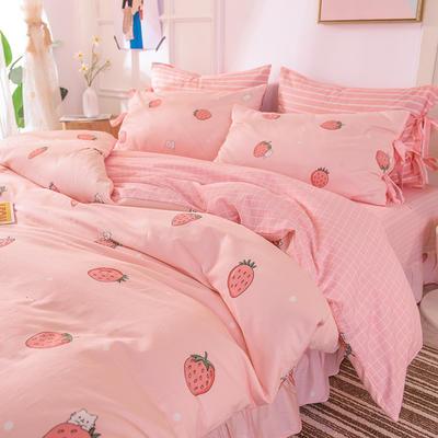 2020全棉草莓印花小清新四件套 1.2m(4英尺)床 草莓公主-系带款