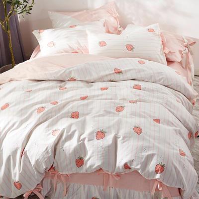 2020全棉草莓印花小清新四件套 1.2m(4英尺)床 草莓条纹-系带款