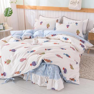 2020全棉草莓印花小清新四件套 1.2m(4英尺)床 好多鱼-系带款