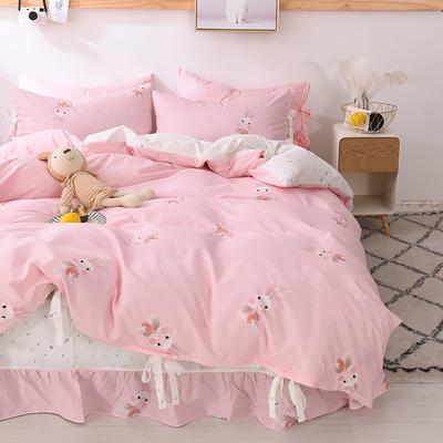 2020全棉草莓印花小清新四件套 1.2m(4英尺)床 可爱兔粉-系带款