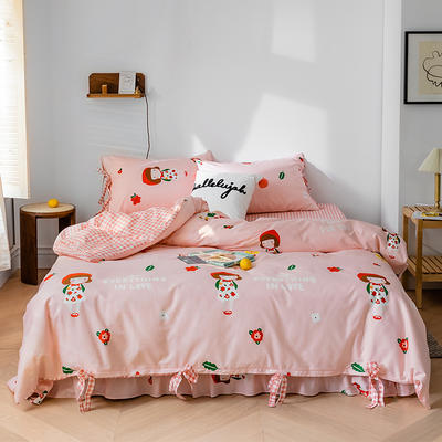 2020全棉草莓印花小清新四件套 1.5m(5英尺)床 大红帽