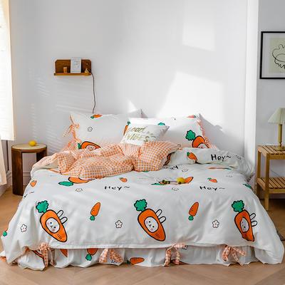 2020全棉草莓印花小清新四件套 1.5m(5英尺)床 萌萌兔