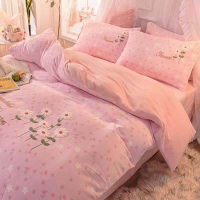 2020新款臻棉绒毛巾绣四件套   提取码:wz12 1.8m(6英尺)床 花儿朵朵-粉